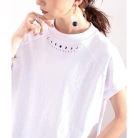 綿100% USAコットン。月グラフィックプリントモックネックTシャツ (ホワイト)