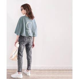 綿100%。月グラフィックプリントで1+ サイドスリットbigTシャツ (ダスティブルー)