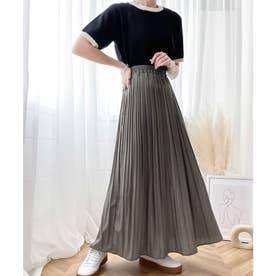 ふわり、揺れる。一目置かれる魅惑のプリーツスカート (アースグレー)