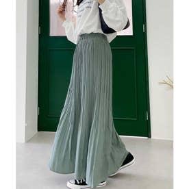 ふわり、揺れる。一目置かれる魅惑のプリーツスカート (グレージュブルー)