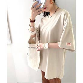 《JaVaジャバ コラボ》綿100% オーガニックコットン。シンプルbigTシャツ (グレージュ)