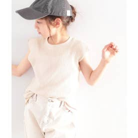 《キッズ》ラフに着こなしたい。綿100%、柔らかワッフル×フレンチスリーブトップス (ベージュ)