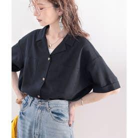 さらっと軽やか。コットンリネン開襟シャツ (ブラック)