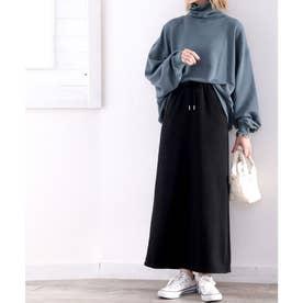 《JaVaジャバ コラボ》暖か大人カジュアル。裏起毛マキシスカート (ブラック)
