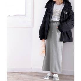 《JaVaジャバ コラボ》暖か大人カジュアル。裏起毛マキシスカート (グレー)