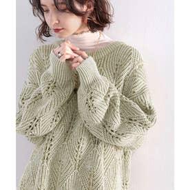 ミックスカラー糸を楽しむ。ダイヤ柄透かし編みニット。 (グリーン)
