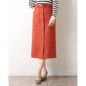 スウェードポンチベルト付きタイトスカート (ORANGE)