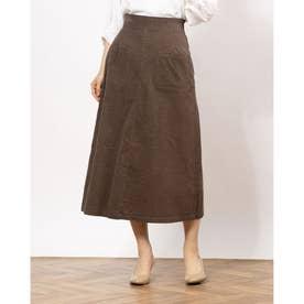 シャツコール張りポケAラインスカート (DARK BROWN)