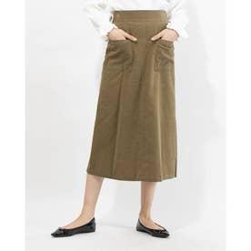 シャツコール張りポケAラインスカート (KHAKI)