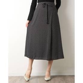 小紋柄共リボンラップ風スカート (BLACK)