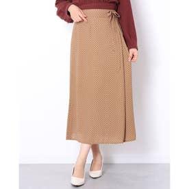 小紋柄共リボンラップ風スカート (CAMEL)