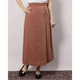 クルミボタン付きAラインスカート (PINK BEIGE)