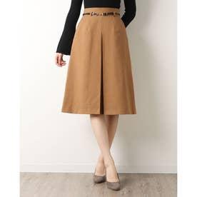 ベルト付きBOXスカート (CAMEL)