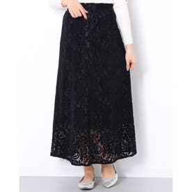 '起毛レースロングスカート' (BLACK)