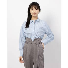 100/2ブロード無地・ストライプBIGシャツ (SAX)