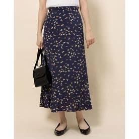 プリント裾ペプラムスカート (NAVY)