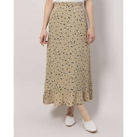 プリント裾ペプラムスカート (KHAKI)