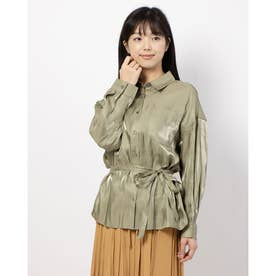 サテンBIGシャツ (KHAKI)