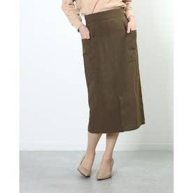 両サイドポケットロングタイトスカート (KHAKI)