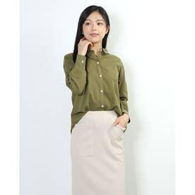 綿麻シャンブレー2WAYシャツ (KHAKI)