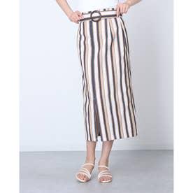 ストライプベルト付きスカート (BEIGE)