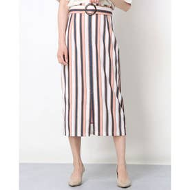ストライプベルト付きスカート (PINK)