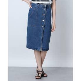 デニムアシメ前開きタイトスカート (BLUE)