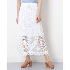かぎ針レーシーマキシスカート (WHITE)