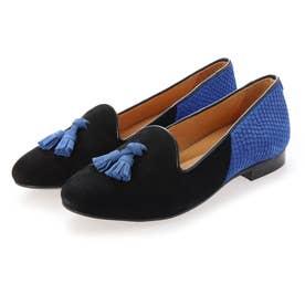 Hercule Tassels (Black suede & royal blue)
