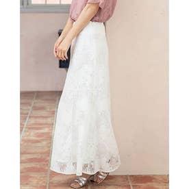 フレアレースロングスカート (ホワイト)