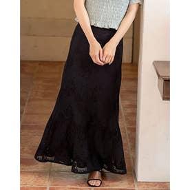 フレアレースロングスカート (ブラック)