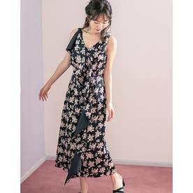 フラワーサテンドレープドレス (ブラック)