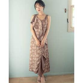 フラワーサテンドレープドレス (ブラウン)