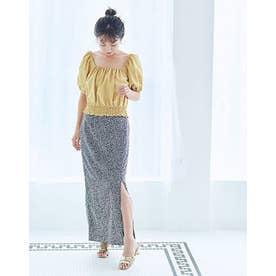 フラワーIラインスカート (ネイビー)
