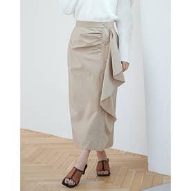 アシメドレープボタンスカート (BEIGE)