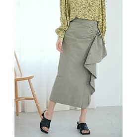 アシメドレープボタンスカート (KHAKI)