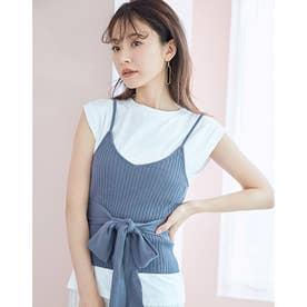 ニットキャミレイヤードTシャツ (BLUE)