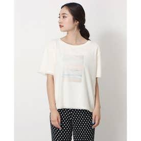 チュール重ねフロントプリントTシャツ (OFF WHITE)