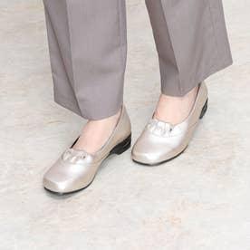 幅広5Eエアークッション足型オブリークパンプス (シルバー)