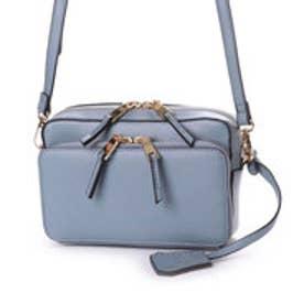 お財布機能付きボックス型ショルダーバッグ (ブルー)