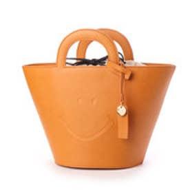 スマイルデザイン素押しバスケット型トートバッグ (ベージュ)