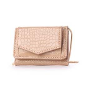 チェーンショルダー付き三つ折りミニ財布 (ベージュ)