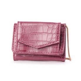 チェーンショルダー付き三つ折りミニ財布 (パープル)