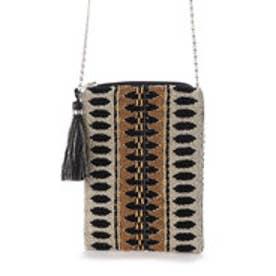 ジャガードモチーフビーズ刺繍チェーンショルダーバッグ (ブラック)
