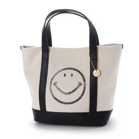 スマイルスパンコール刺繍キャンバストートバッグ (ブラック)