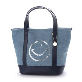 スマイルスパンコール刺繍キャンバストートバッグ (ブルー)