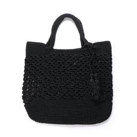柄編みビッグトートバッグ (ブラック)