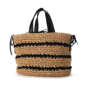 サテンリボン×ペーパー切り替え編みトートバッグ (ブラック)