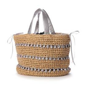 サテンリボン×ペーパー切り替え編みトートバッグ (グレー)