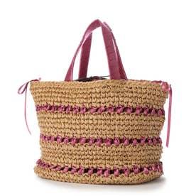 サテンリボン×ペーパー切り替え編みトートバッグ (ピンク)
